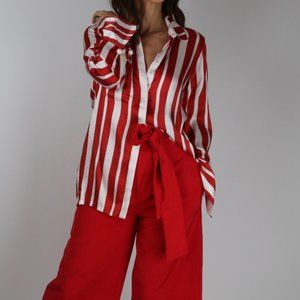 MOTHER OF PEARL Red Stripe Long Sleeve Silk Blouse